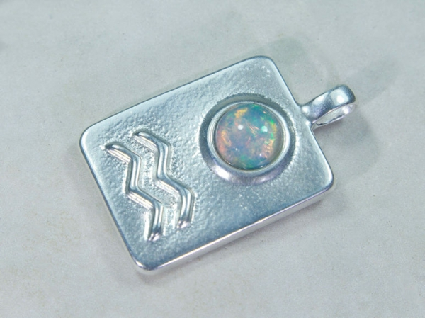 Zodiac sign Aquarius with Opal, 25mm, 925 Silver