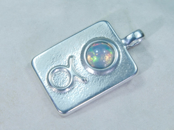 Zodiac sign bull with opal, 25mm, 925 silver