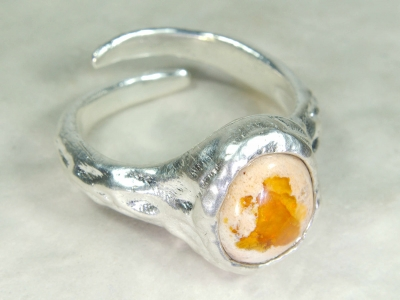 Cantera Fire Opal Ring, No.8, 925 Silver