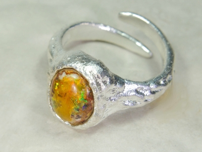 Cantera Feuer Opal Ring, Nr.10, 925 Silber