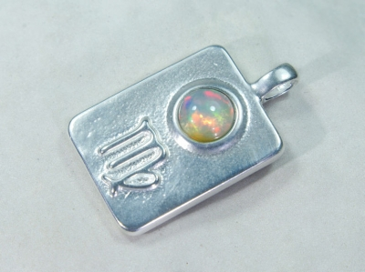 Zodiac sign Virgo with Opal, 25mm, 925 Silver