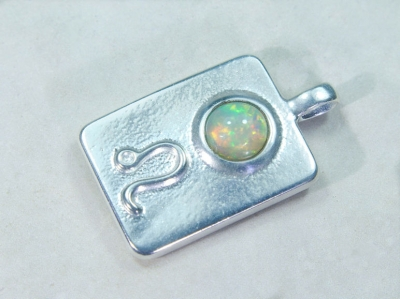 Zodiac sign lion with opal, 25mm, 925 silver
