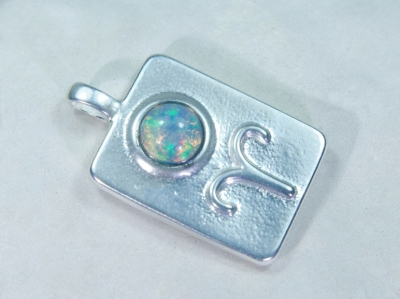 Zodiac sign Aries with Opal, 25mm, 925 Silver
