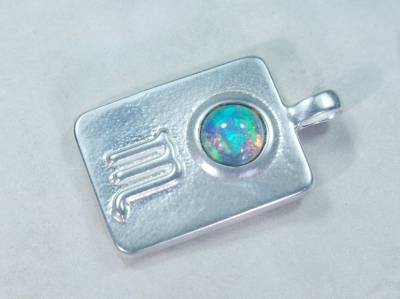 Zodiac sign Scorpio with Opal, 25mm, 925 Silver